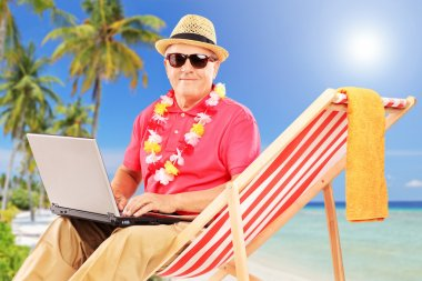 Mature male tourist sitting on a sun lounger and working on a laptop, on a tropical beach with palm trees stock vector