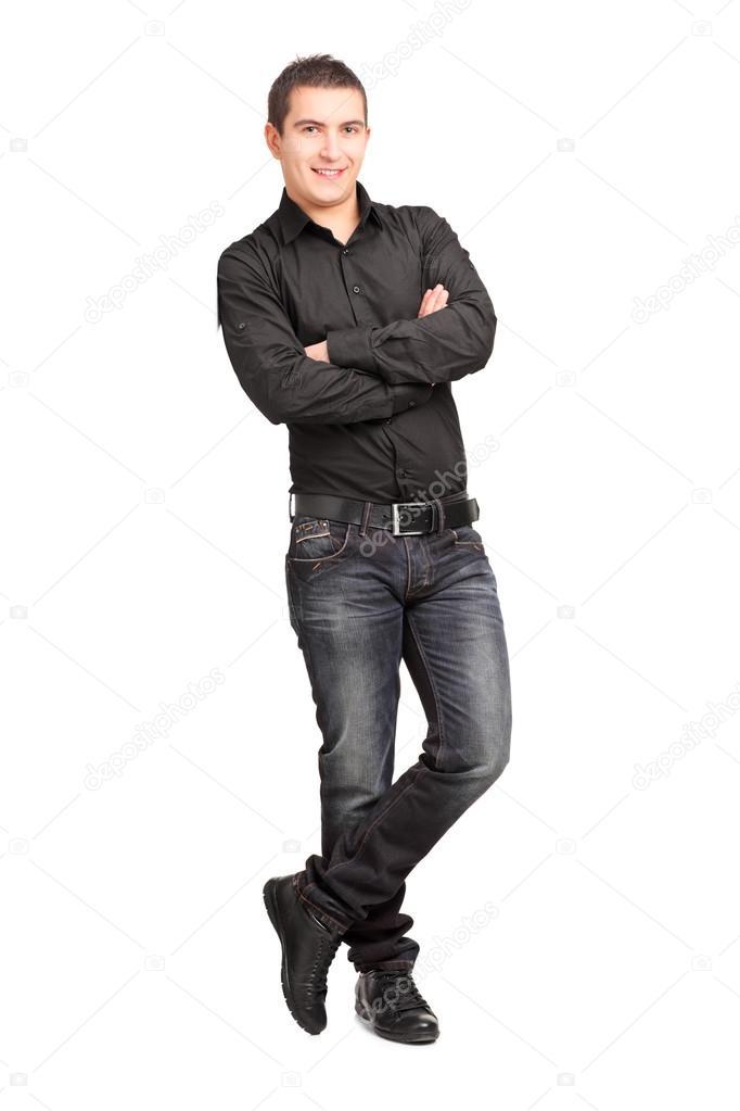 563425fef Fotos: varon | varón joven apoyado contra la pared — Foto de stock ...