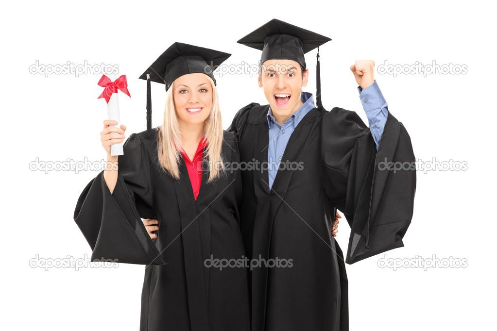 eb44c0a9a macho y hembra celebración de graduación — Fotos de Stock ...