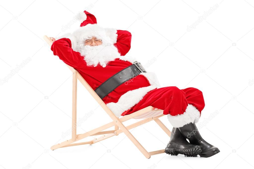 Santa Claus on beach chair