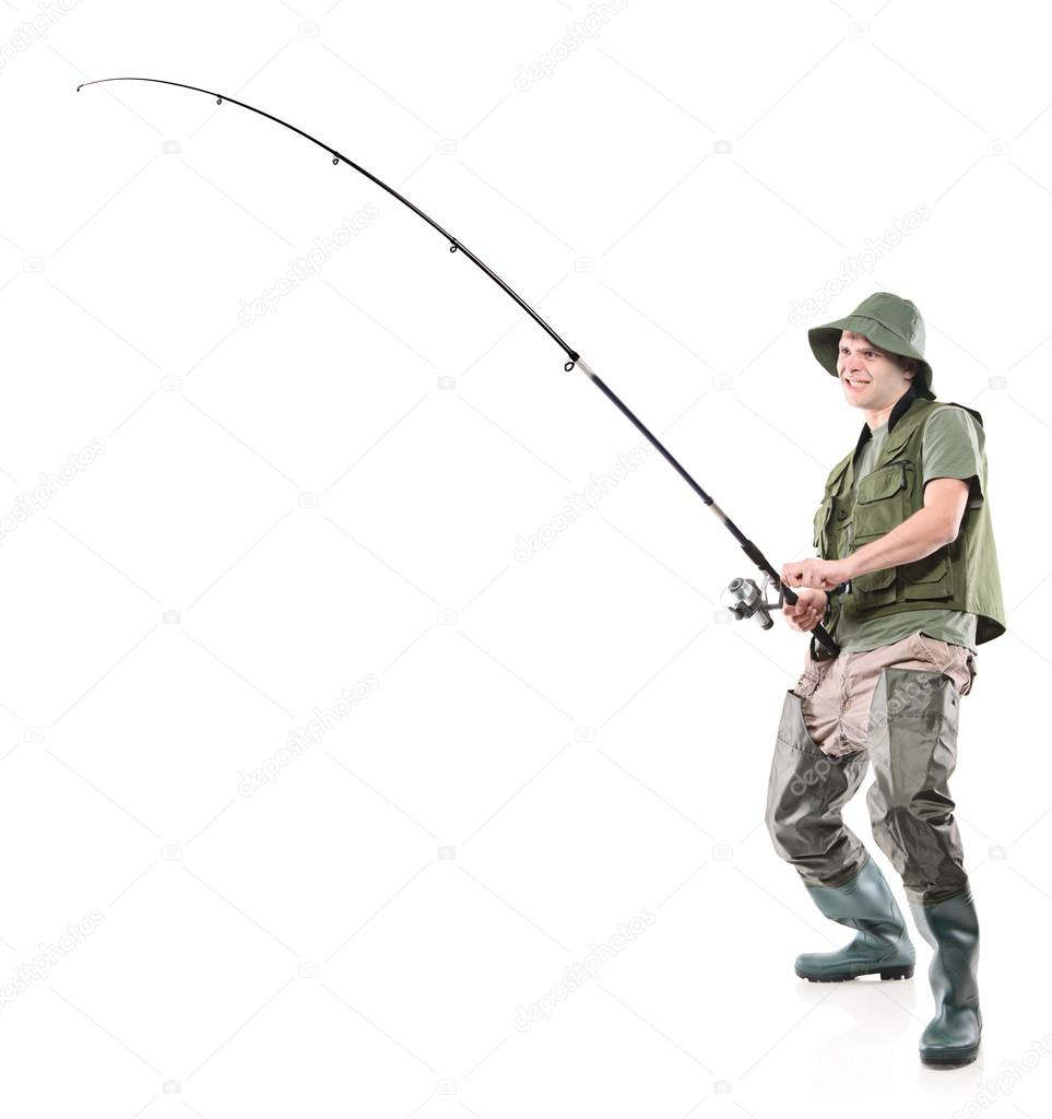 7ecfb8edfcfd9 Full length portrait of a fisherman holding a fishing pole isolated on white  background — Photo by ...