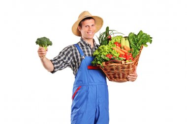 Farmer holding basket full of vegetables