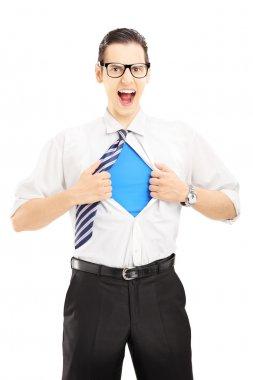 Superhero screaming and opening shirt