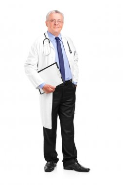 Full length portrait of a mature healthcare professional posing isolated on white background stock vector