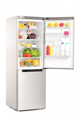 Open fridge full of products