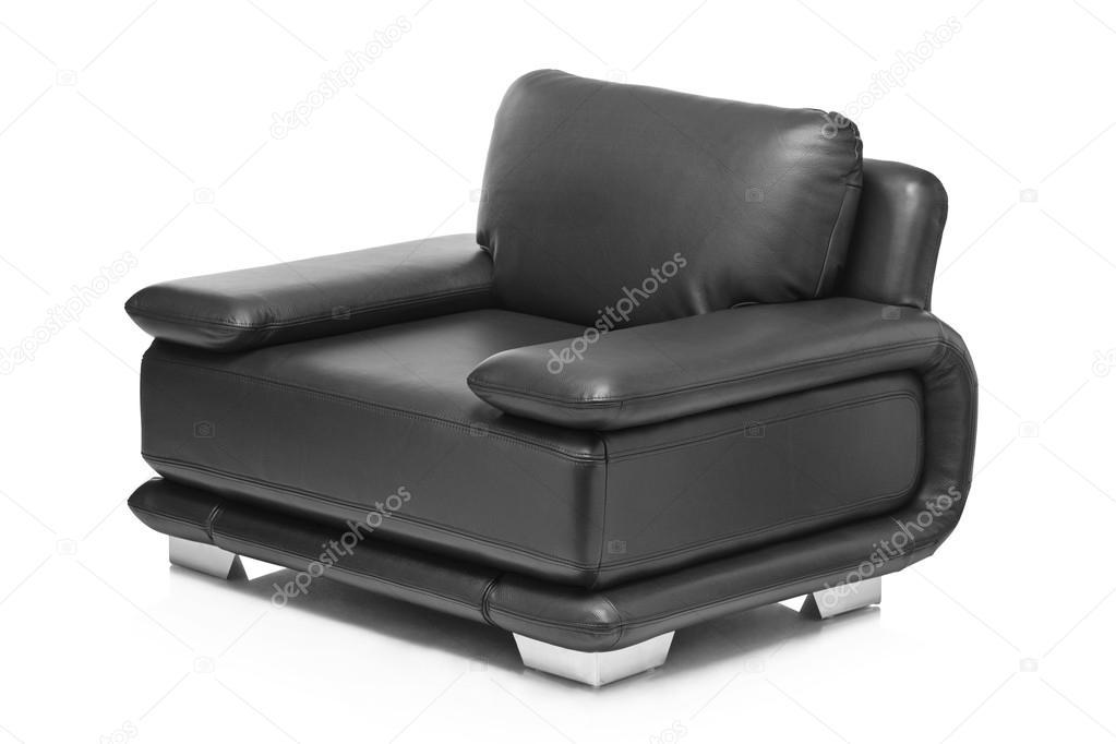 Zwarte lederen fauteuil u stockfoto ljsphotography