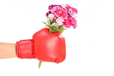 Hand in boxing glove holdin flowers
