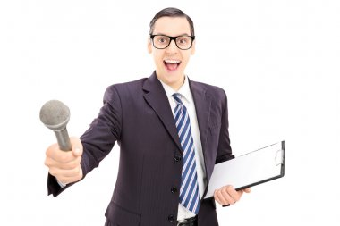 Male interviewer holding microphone