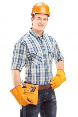 Manual worker with helmet
