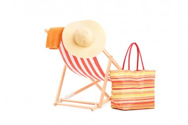 Sun lounger with orange stripes