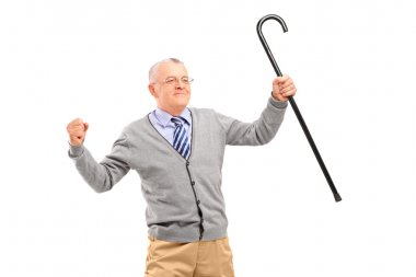 Senior man holding cane