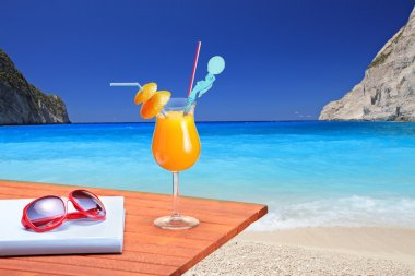 Cocktail on beach table
