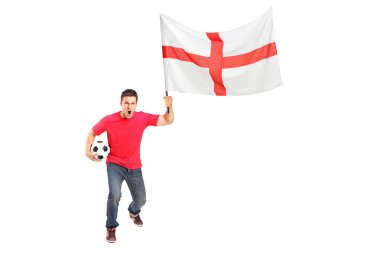Euphoric fan holding ball and flag