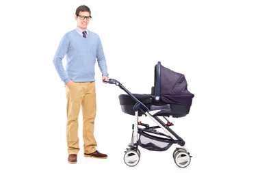 Father holding baby stroller