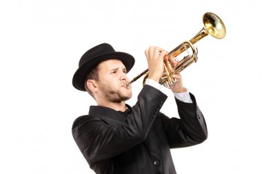Man in hat playing trumpet