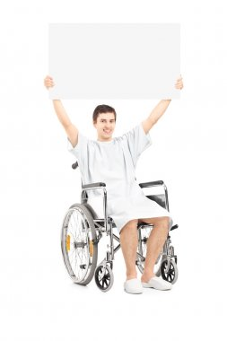Male patient in a wheelchair holding a blank panel, isolated on white background stock vector