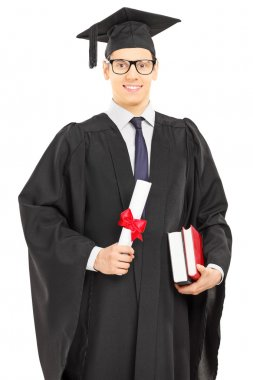 Student in graduation with diploma