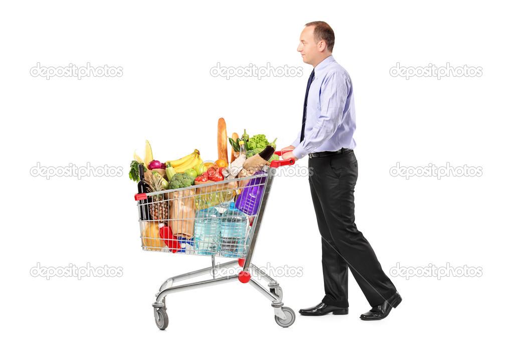 Carrito de compras empujando persona foto de stock - Carrito dela compra ...