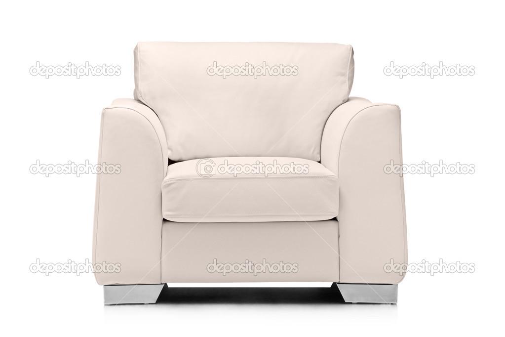 Witte lederen fauteuil u stockfoto ljsphotography