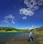 Halász halászat tó