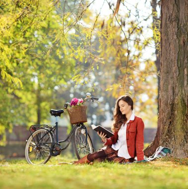 Young beautiful female with her bike, reading a novel in park, shot with a tilt and shift lens stock vector