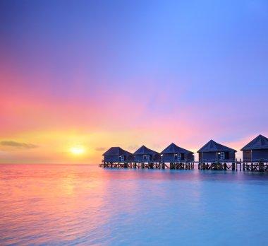 Maldives island and water villas