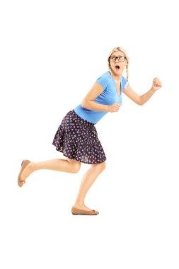 Scared woman running away