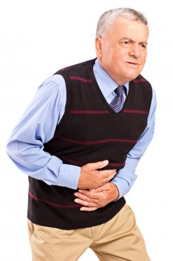 Mature man with pain in stomach