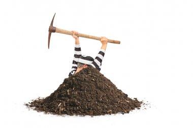 Prisoner digging hole