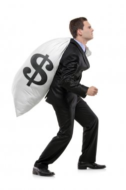 Businessman carrying money bag