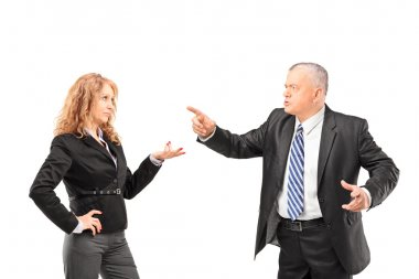 Man having disagreement with businesswoman