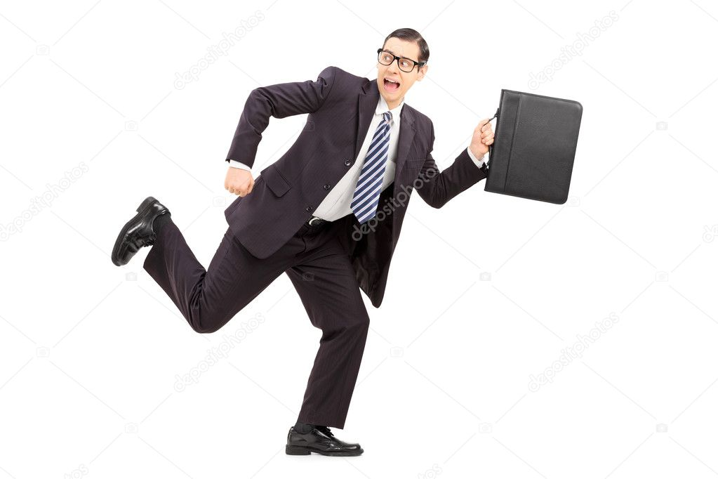 Scared male businessman running away — Stock Photo ...