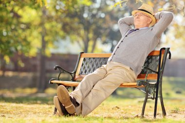 Pensioner on bench in park