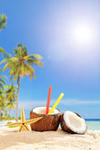 Cocktail in Kokosnuss am Strand