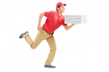 Pizza delivery guy running