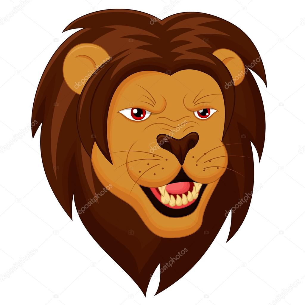 Rozzuřený lev hlava kreslený — stock vektor fightingfear