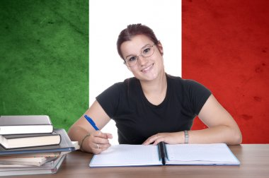 young girl student on the background with Italian national flag