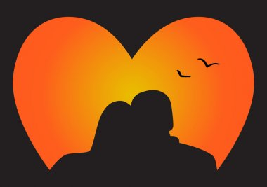Silhouette couple in Love, who look at the sunset stock vector