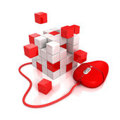 Red computer mouse connect to abstract cubes structure