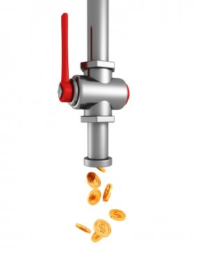dripping tap with flow of falling golden coins