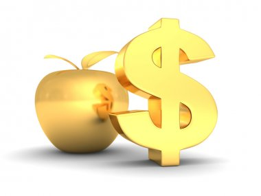 big golden dollar symbol with apple. business success