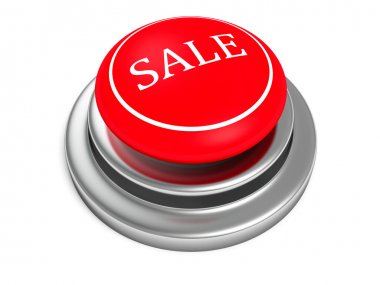 red sale push button on white background