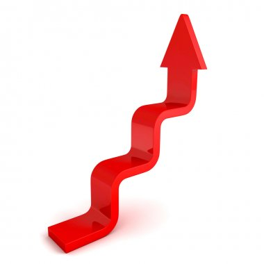 stairs arrow going upward grow on white background. success conc
