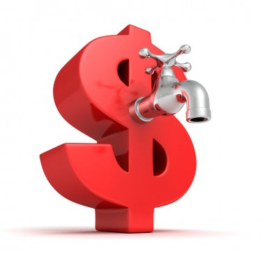 Big red dollar symbol with metallic water tap faucet