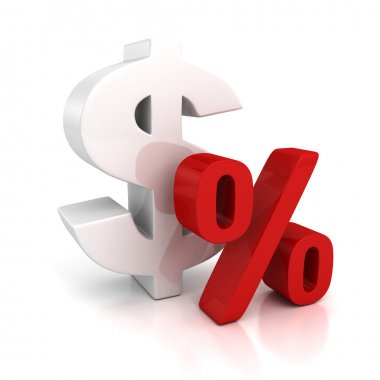 3d big dollar currency symbol and red percent sign