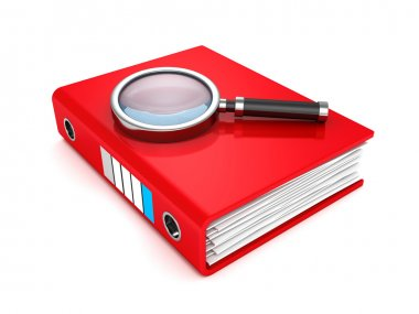 Red paper document folder with magnifier