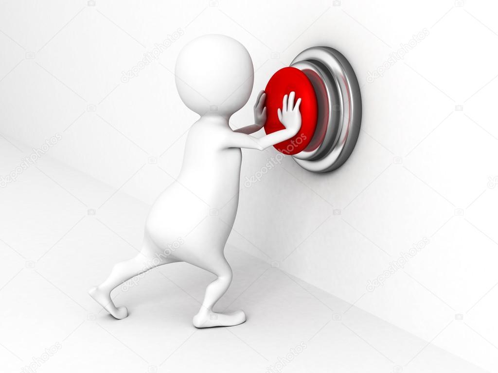 wei e 3d person die einen roten knopf dr cken stockfoto versusstudio 46081757. Black Bedroom Furniture Sets. Home Design Ideas