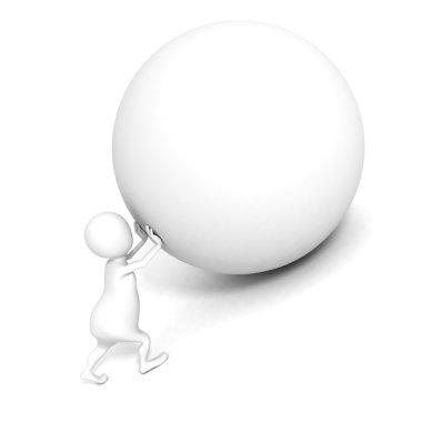 3d man push up heavy sphere.