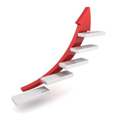 Red growing up success arrow