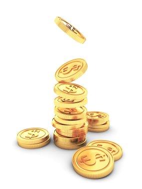 Stack of Golden Dollar Coins
